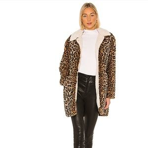 Sanctuary Sierra Faux Leopard & Sherpa Coat XL